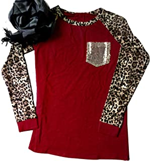 Leopard Print Tops for Women Long Sleeve Leopard Printed Casual Baseball T-Shirt Blouse with Bling Pocket