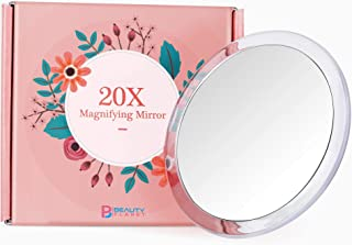 Updated 2020 Version, 5Inch, 20X Magnifying Mirror with Three Suction Cups, Use for Makeup Application, Tweezing, and Blackhead/Blmish Removal. (5inches, Silver)