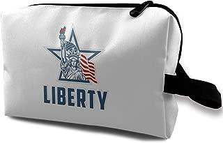 Emblem with Statue of Liberty Makeup Bag for Purse Travel Makeup Cosmetic Bag