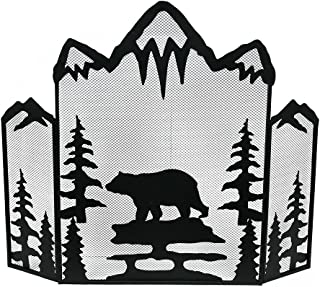 Zeckos Mountain Bear Black Metal Mesh 3 Panel Fireplace Screen