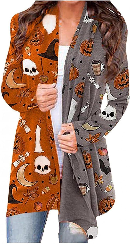 Womens Casual Halloween Funny Ghost Pumpkin Print Sweaters Long Sleeve Open Front Cardigan Blouse Lightweight Coat