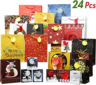 Lulu Home Christmas Gift Bags, 24 PCS Christmas Assorted Craft Bags with Tags, 4 Size Xmas Gift Bag Holiday Party Favor