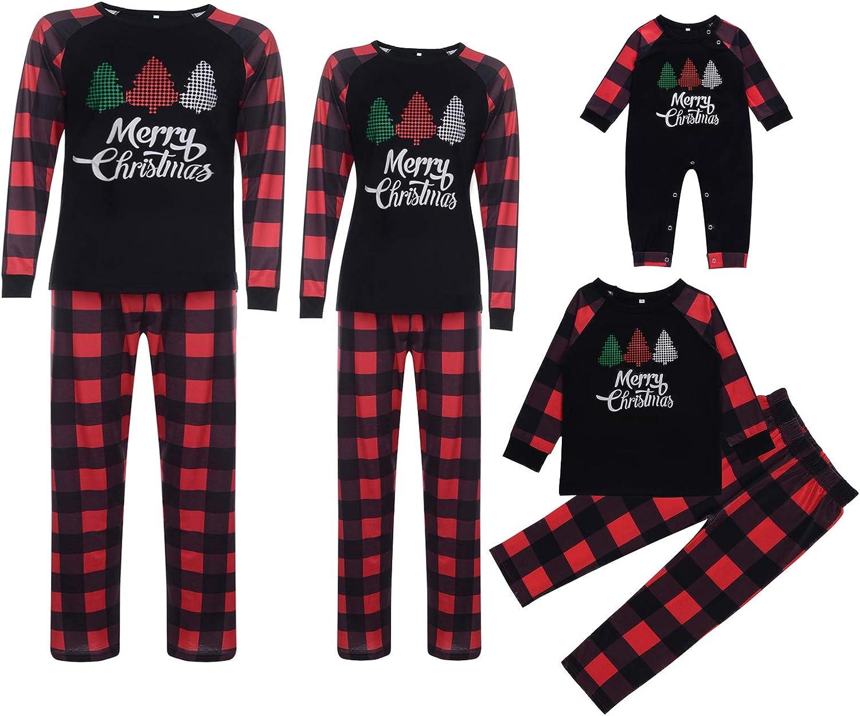 Christmas Matching Family Pajamas Sets PJ's Letter and Plaid Printed Long Sleeve Tee and Pants Loungewear Sleepwear (Christmas Tree, Dad/M)