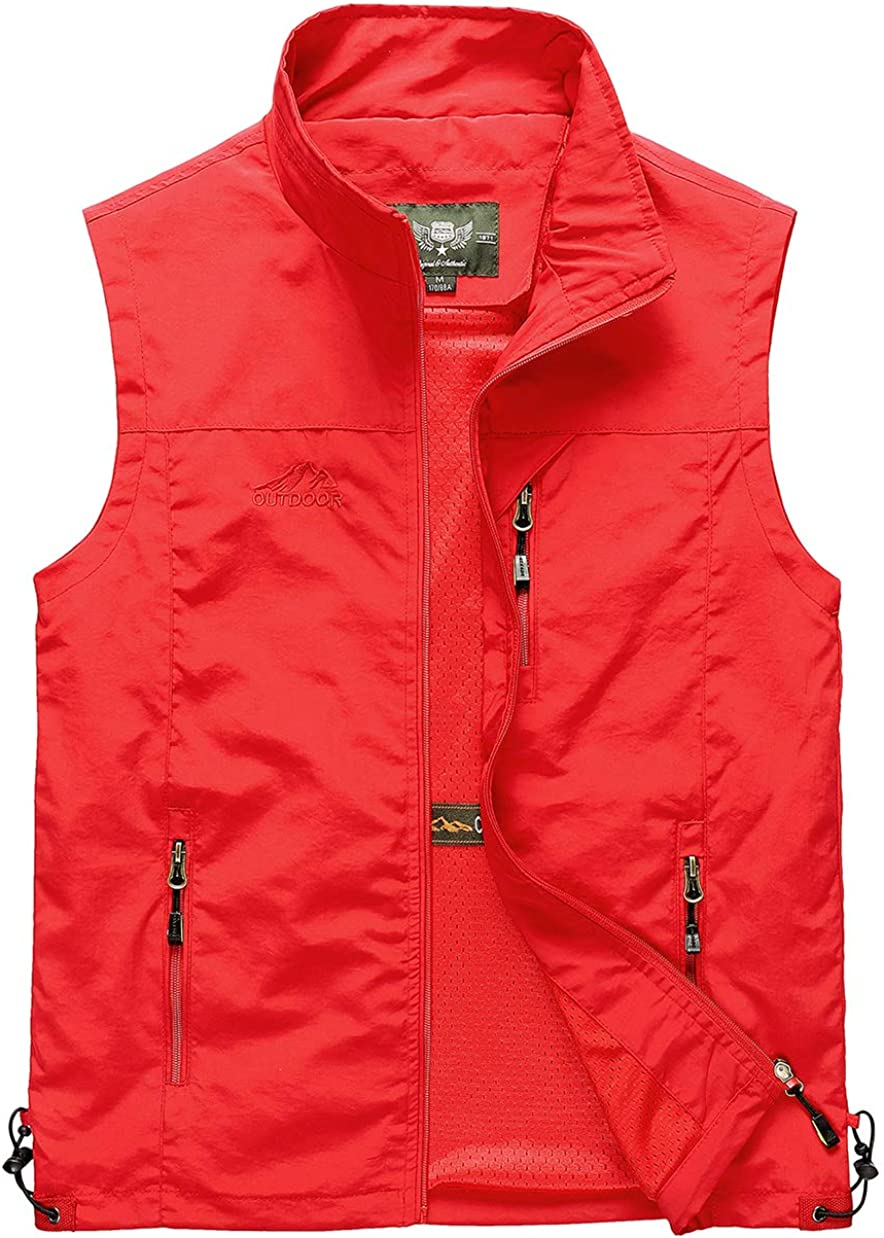 Duyang Men's Casual Outdoor Lightweight Quick Dry Fish Travel Work Safari Vest