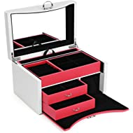 SONGMICS Jewelry Box, Lockable Jewelry Organizer, with Mirrored Lid, for Necklaces, Rings, Studs,...