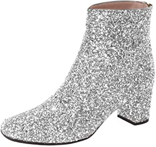c5d884d09f6b XYD Glitter Low Block Heel Ankle Boots Sequins Round Toe Dress Booties  Shoes with Zips