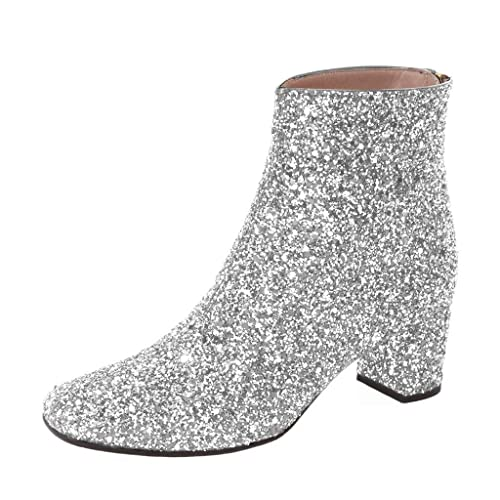 XYD Glitter Low Block Heel Ankle Boots Sequins Round Toe Dress Booties Shoes  with Zips 4b3b22378d5d