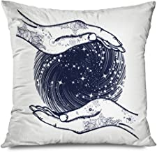 Ahawoso Throw Pillow Cover Square 18x18 Astrology Magic Medieval Sphere Hands Engraving Ball Work Psychic Tattoo Crystal Fate Clairvoyant Decorative Pillowcase Home Decor Zippered Cushion Case