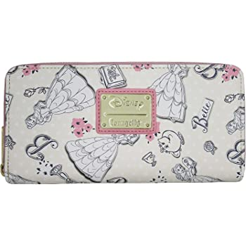Loungefly Disney Beauty and the Beast Belle Pink Allover Print Zip Around Wallet (Multicolored)