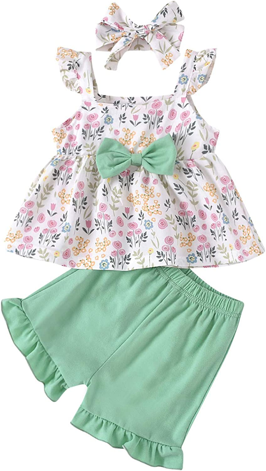 Toddler Infant Baby Girl Solid Shorts Set Cotton Linens Sleeveless Shirt Top +Short Outfit 2Pcs Summer Clothes