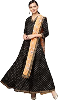 Black and Gold Printed Anarkali Kurta Set for Women