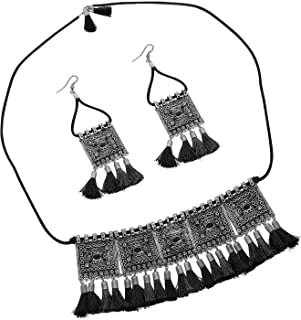 Total Fashion Afgani Earring and Choker Necklace Jewellery Set oxidised German Silver with Cotton Threads for Women and Girls