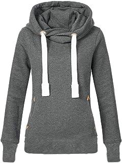 b8fd83b66a7 BOLUOYI Women Plus Size Long Sleeve Solid Sweatshirt Hooded Pullover Tops  Shirt