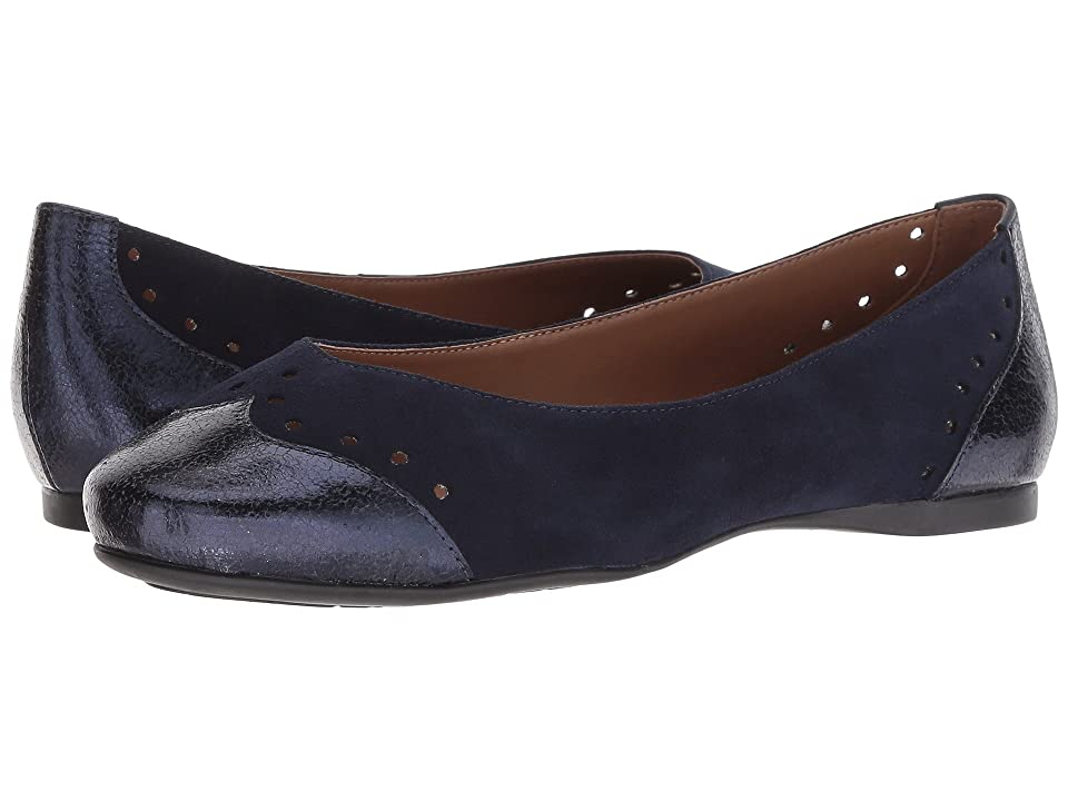 French Sole Civil Flat (Navy Suede Metallic) Women