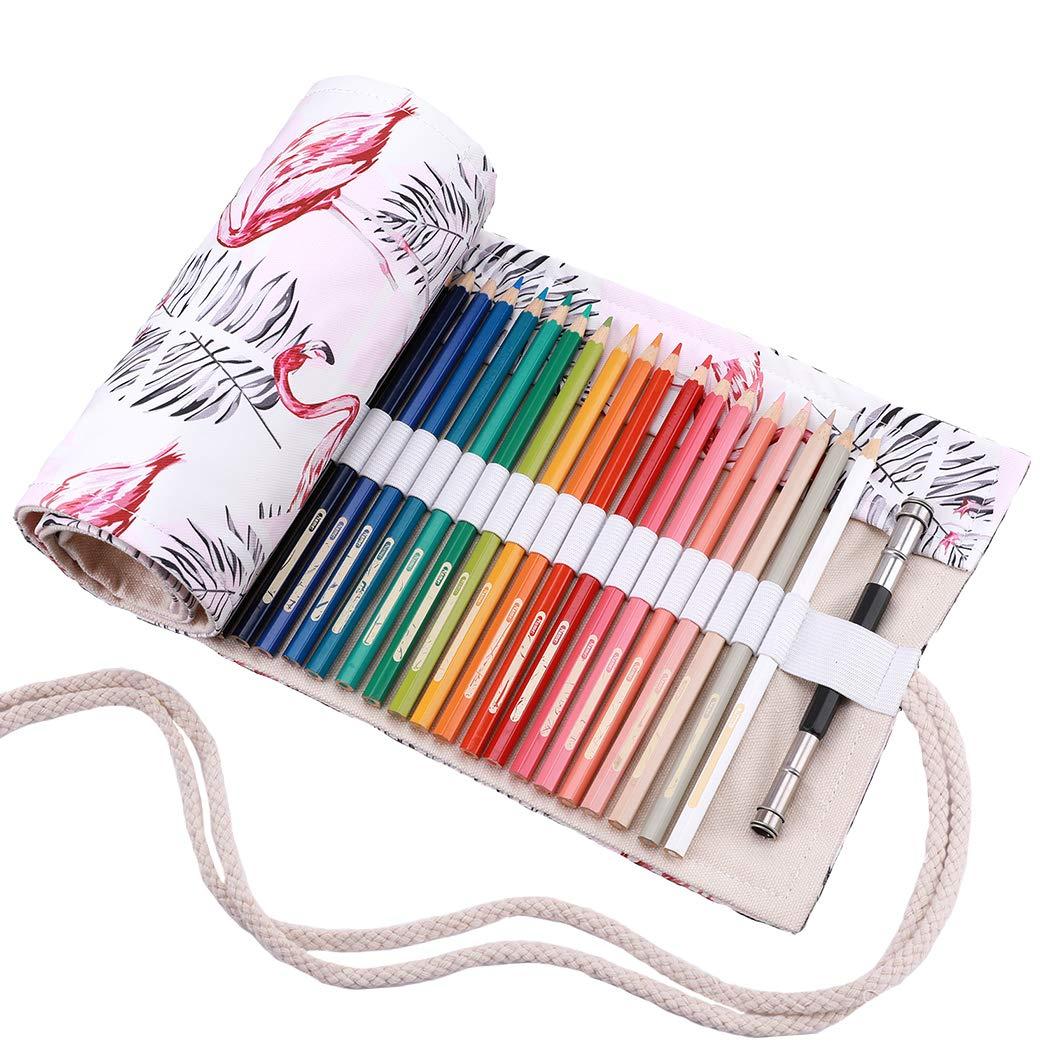 Abaría - Bolso para lápices, Estuche Enrollable para 48 lapices Colores, portalápices de Lona, Bolsa Organizador lápices para Infantil Adulto (No Incluyendo los lápices): Amazon.es: Electrónica