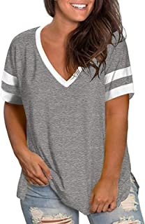 Womens Plus-Size Tops Summer V Neck Striped T Shirts Side...