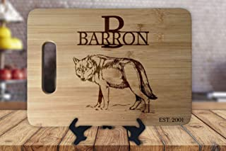Wolves Wolf New Home Housewarming Anniversary Wedding Christmas Gift Personalized Cutting Board Engagement Bamboo Cutting Board