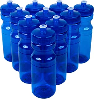 CSBD Clear 24 Oz Sports Water Bottles, 10 Pack, Blank for Customized Branding, No BPA Food Grade Plastic for Fitness, Hiking, Cycling, or Gym Workouts, Made in USA