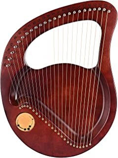 SEAAN 24 String Lyre Harp Mahogany Solid Wood Musical Instrument with Tuning Wrench, 24 Spare Mental Strings and Carry Bag...