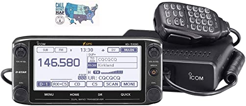 Bundle - 2 Items - Includes Icom ID-5100A Deluxe VHF/UHF Dual Band D-Star Transceiver with Touchscreen and Ham Guides TM Q...