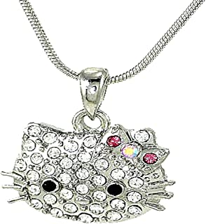 08b1db744bb2c4 Cute Hello Kitty Necklace Silver Tone Crystals Pink Bow 18 Inches