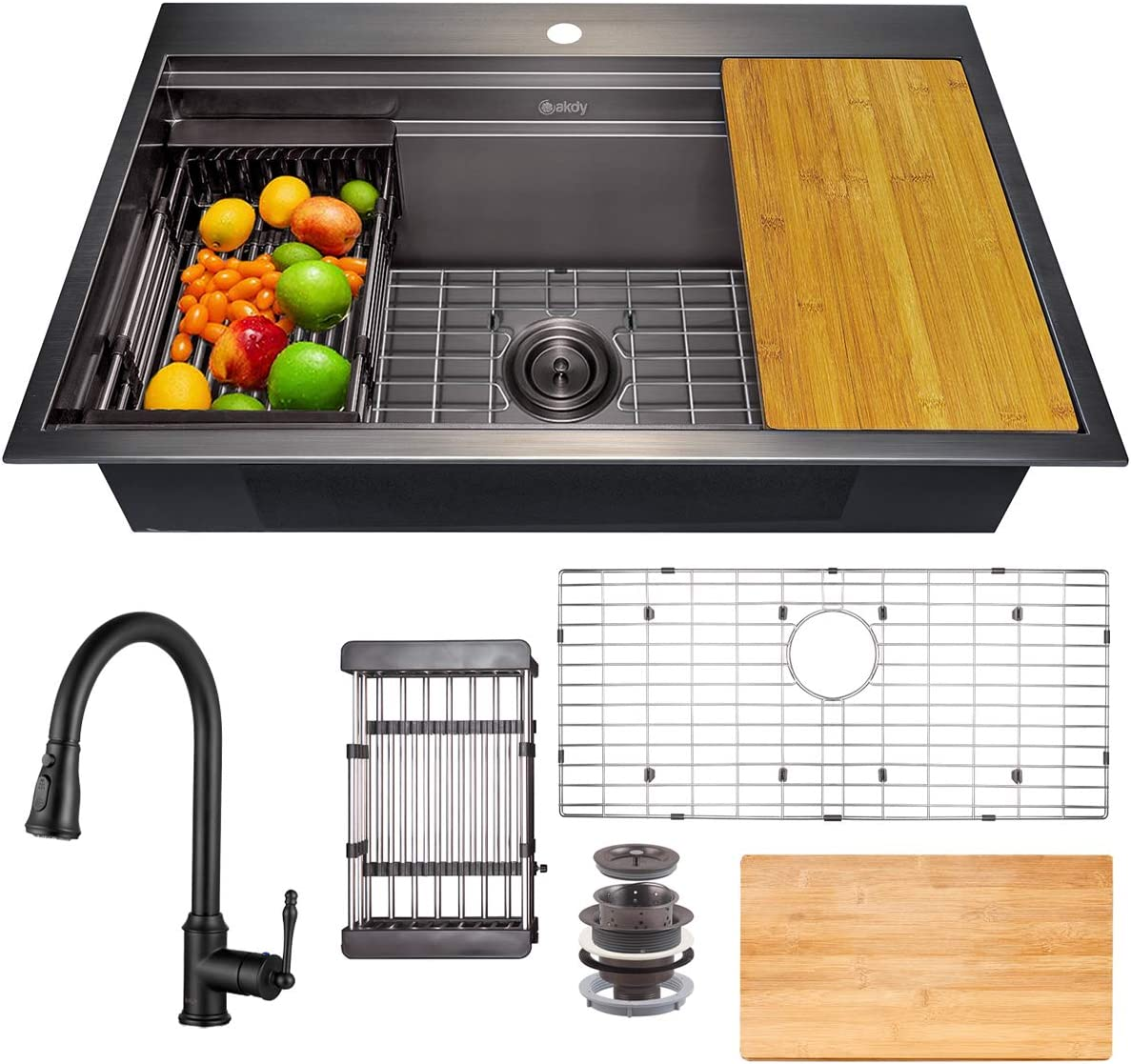 AKDY 開店祝い Matte Black Kitchen Sink 返品交換不可 33-inch Drop-in Combo Faucet and