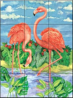 Ceramic Tile Mural - Bamboo Flamingo with Sky - by Paul Brent - Kitchen backsplash/Bathroom shower