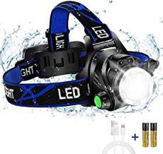Super Bright Headlamp, USB Rechargeable Led Head Lamp, IPX4 Zoomable Waterproof Headlight with 4 Modes and Adjustable Head...