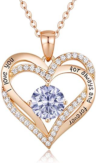 CDE Forever Love Heart Pendant Necklaces for Women 925 Sterling Silver with Birthstone Zirconia, Birthday Jewelry Gift for Women Girls