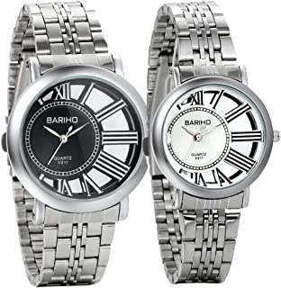 Romantic Gifts Set of 2 Unique His and Hers Couple Lovers Wrist Watches, Stainless Steel Bracelet