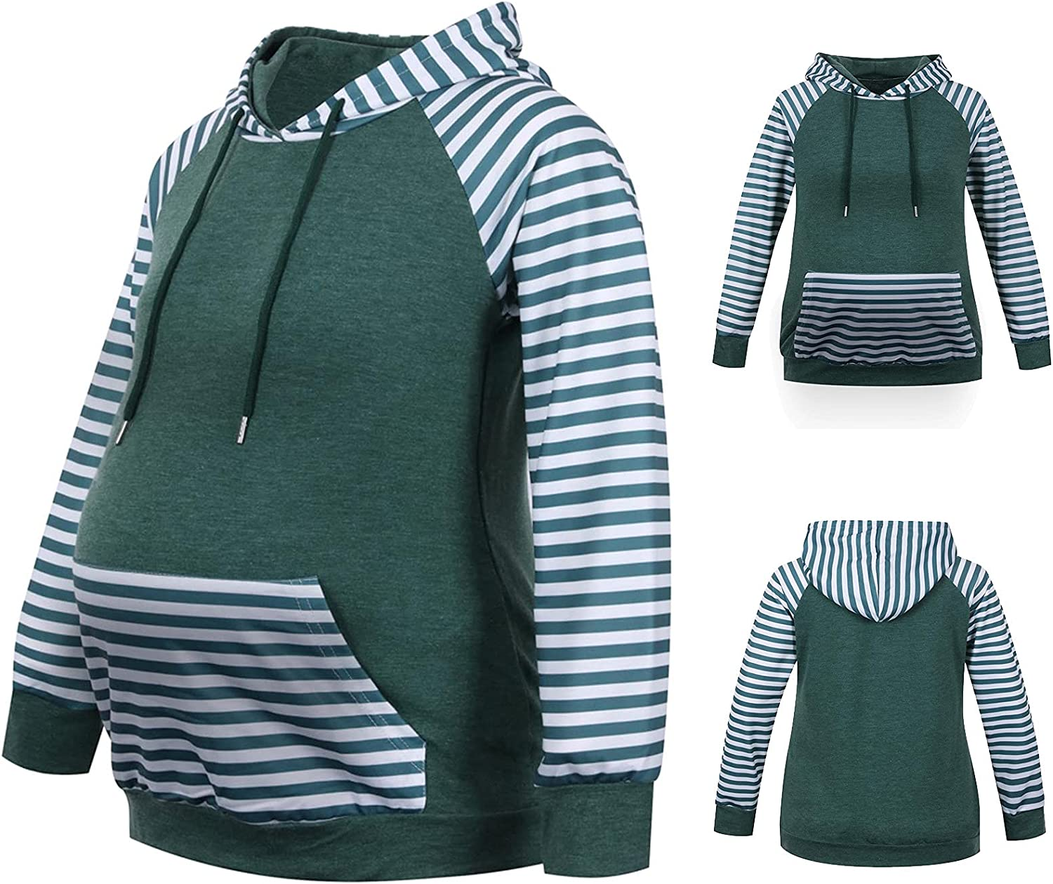 Manufacturer regenerated product Womens Maternity Albuquerque Mall Hoodie Top Sweatshirt Long Colorblock Sl Stripe