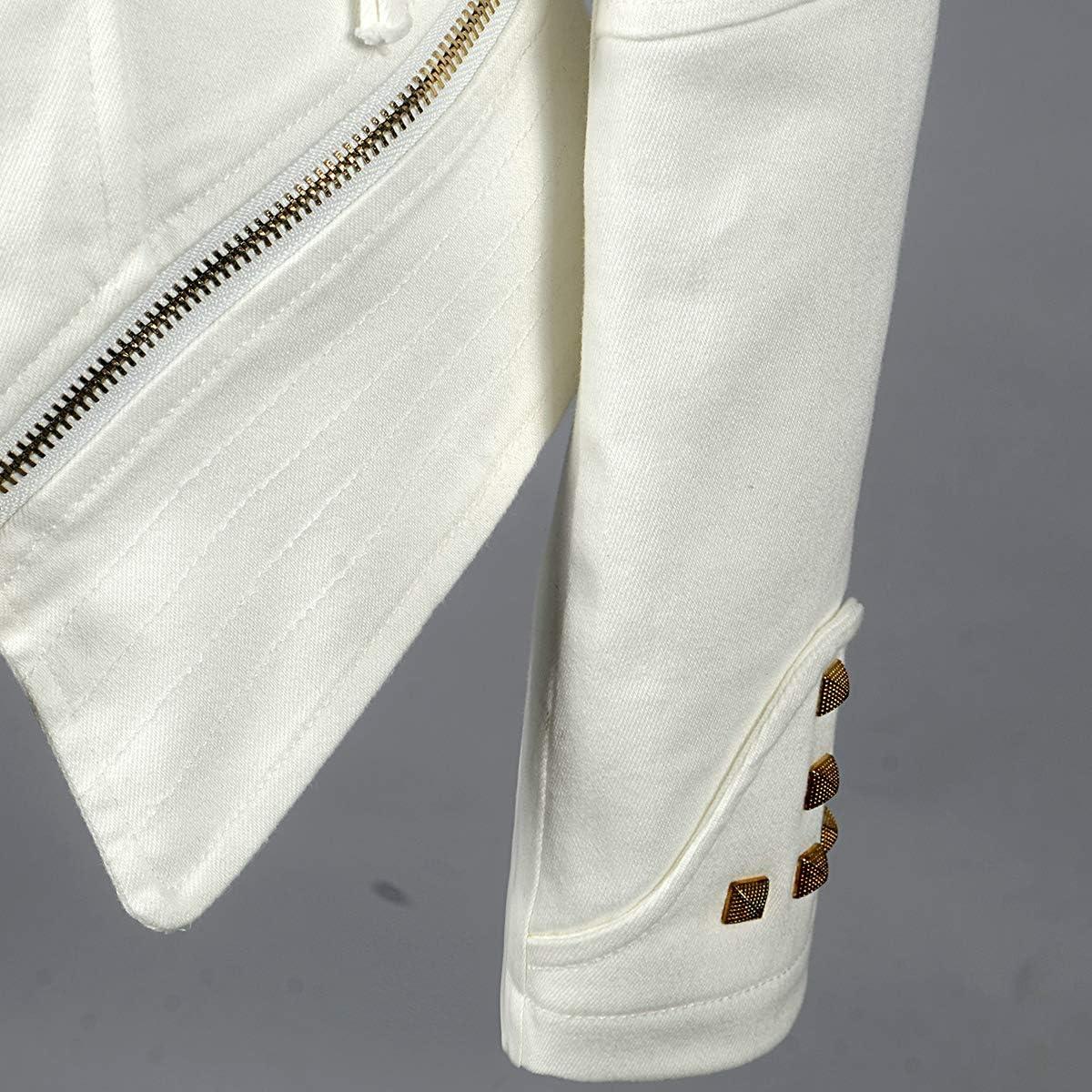 SX Women's Fashion Lapel Zip Up Studded Shoulder Lapel Denim Jeans Blazer Moto Biker Jacket