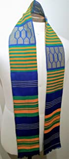 blue and white kente cloth