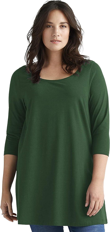 ellos Women's Plus Size security 3 Tunic 4 Knit El Paso Mall Sleeve