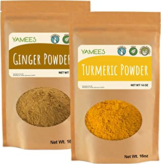 Yamees Bulk Indian Spices - BULK Ginger & Turmeric- 2 Pack of 16 Ounce/1 Pound Each