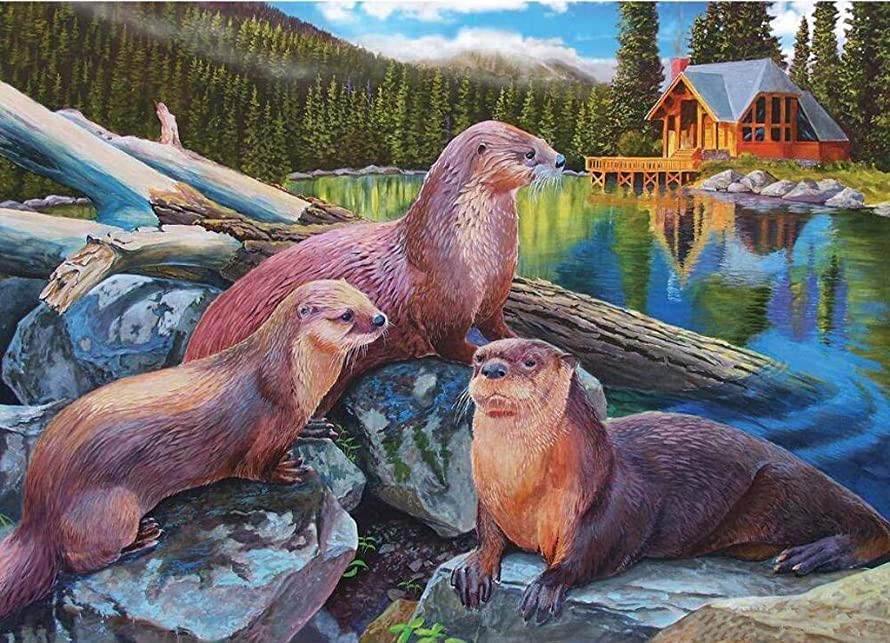 DIY Handwork Store 5D DIY Crystal Diamond Paintings Full Square Animals Otter Family Cross Stitch Kits Paint with Diamonds Embroidery Wall Stickers-[19.7