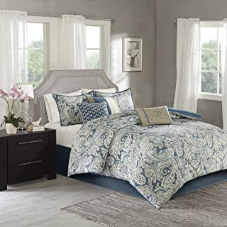 Madison Park Gabby Cal King Size Bed Comforter Set Bed in A Bag - Blue, Paisley – 7 Pieces Bedding Sets – 100% Cotton Sateen Bedroom Comforters
