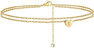 Heart Initial Ankle Bracelets for Women, 14K Gold Filled...