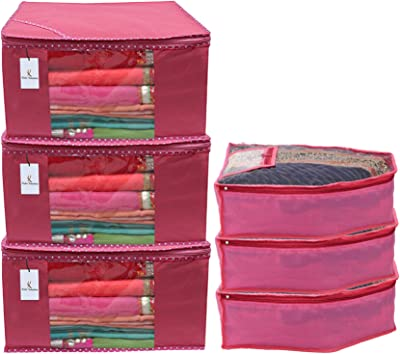 Kuber Industries Non Woven 3 Pieces Saree Cover/Cloth Wardrobe Organizer and 3 Pieces Blouse Cover Combo Set (Pink)