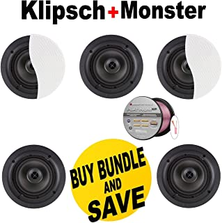 5 Klipsch Architectural CDT-2650-C II 50 W RMS Speaker - 2-way - White + Monster - Platinum XP Clear Jacket MKIII 50' Compact Speaker Cable - Clear/Copper Bundle