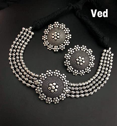 Layered Oxidized Necklace with Classic Matching Earring Best Gift for Sister for rakshabhand Friend Wife