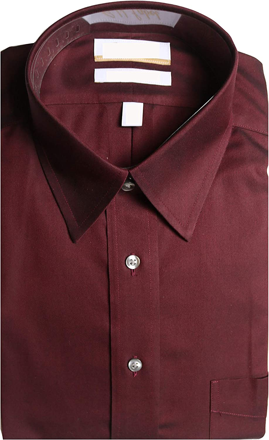 Gold Label Roundtree & Yorke Non-Iron Regular Point Collar Solid Dress Shirt G16A0094 Burgundy