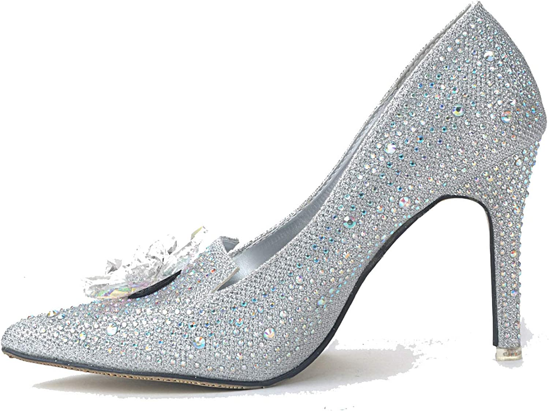 Mamamoo Rhinestone Pointy Toe High Heels, Women Rhinestone Flower Shine Shallow Mouth Wedding High Heels