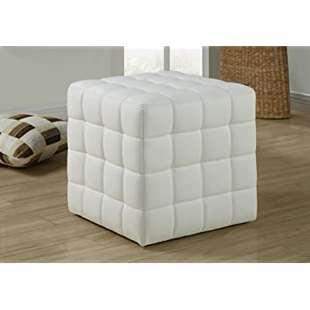 Monarch Specialties Ottoman - Cube Chair - Modern Tufted Cube Ottoman, Faux-Leather (White)