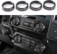 Aluminum Alloy Car Inner side Air Conditioner Switch Knob Ring Cover Trim For Ford F150 XLT 2016 2017 2018 (Black)