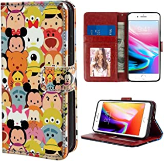 Character Disney Tsum Wallet Case Compatible Apple iPhone 7 Plus, iPhone 8 Plus (5.5in)
