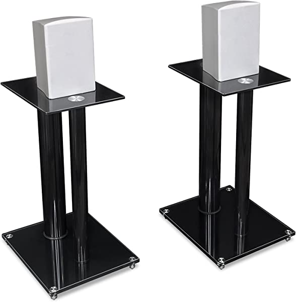 Mount It Speaker Stands For Book Shelf And Surround Sound Speakers Universal Fit Premium Dual Pillar Aluminum And Tempered Glass Black MI 28