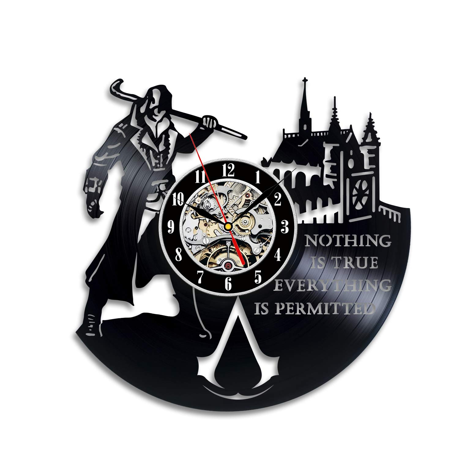 Video Game Assassin Fan Room Decoration Assassin Creed 30cm Vinyl Record Clock
