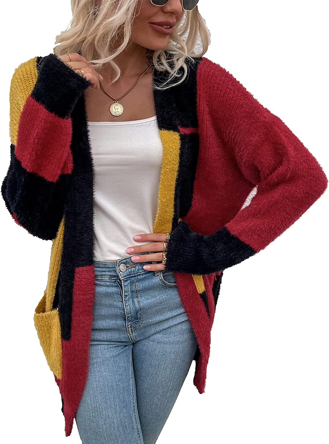 Long Cardigans for Women with Pockets Color Block Long Sleeve Open Front Sweaters Plush Outerwears Loose Knit Casual Coat