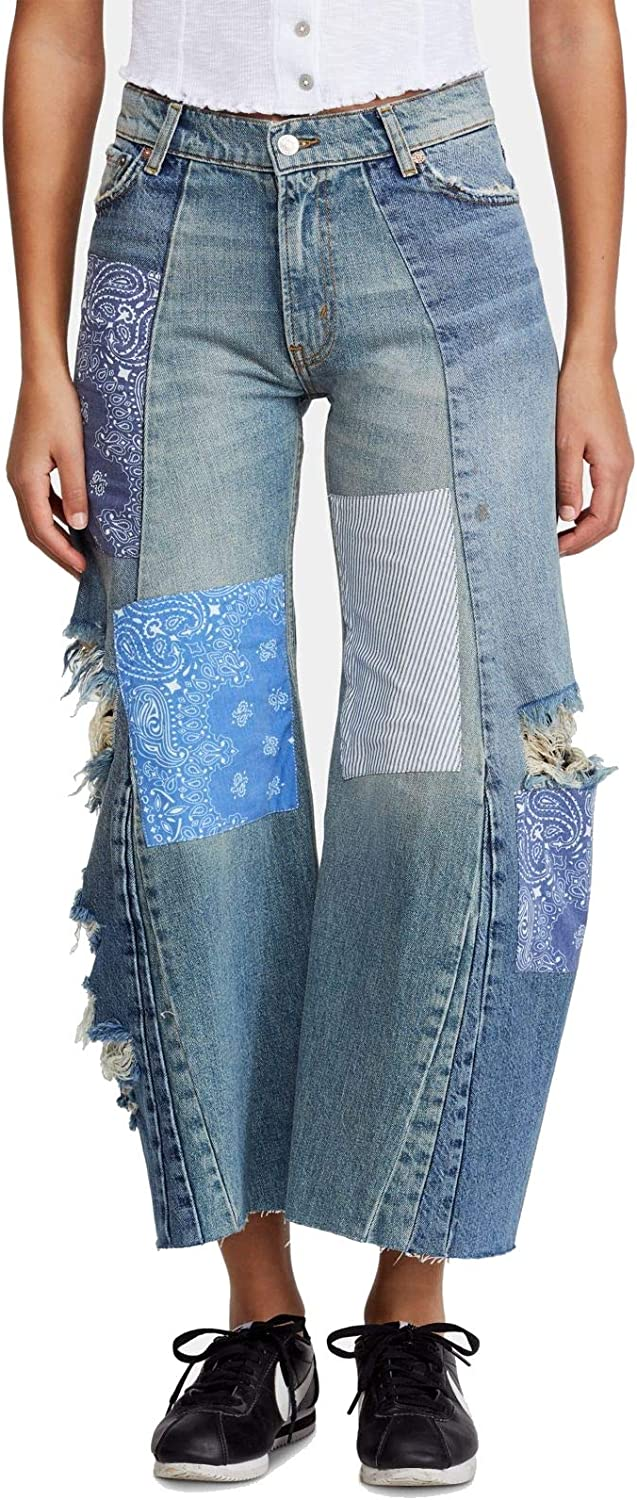 FREE PEOPLE Women's Patchwork Destroyed Wide Leg Jeans